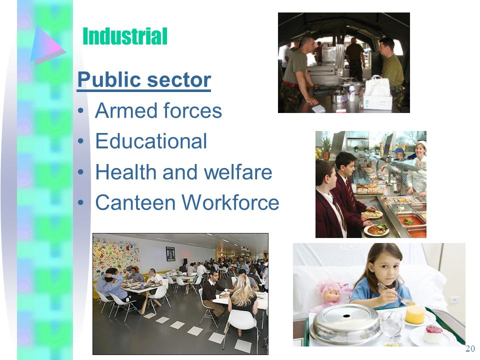 Industrial Public sector Armed forces Educational Health and welfare Canteen Workforce