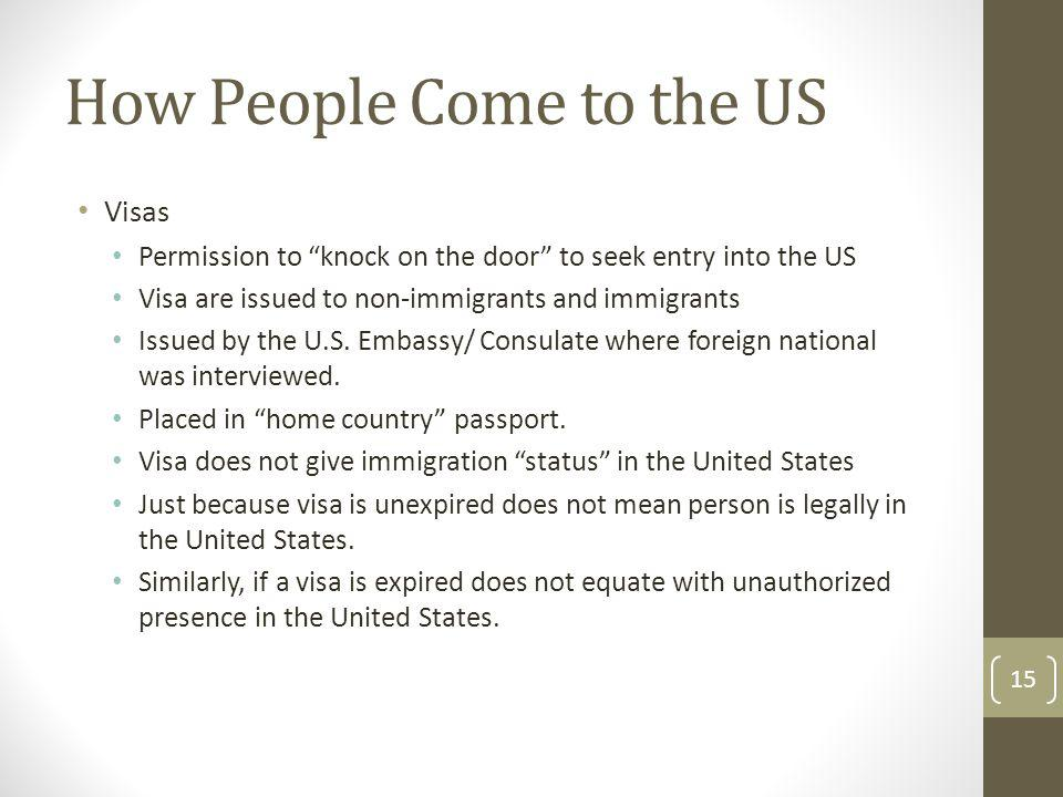 How People Come to the US