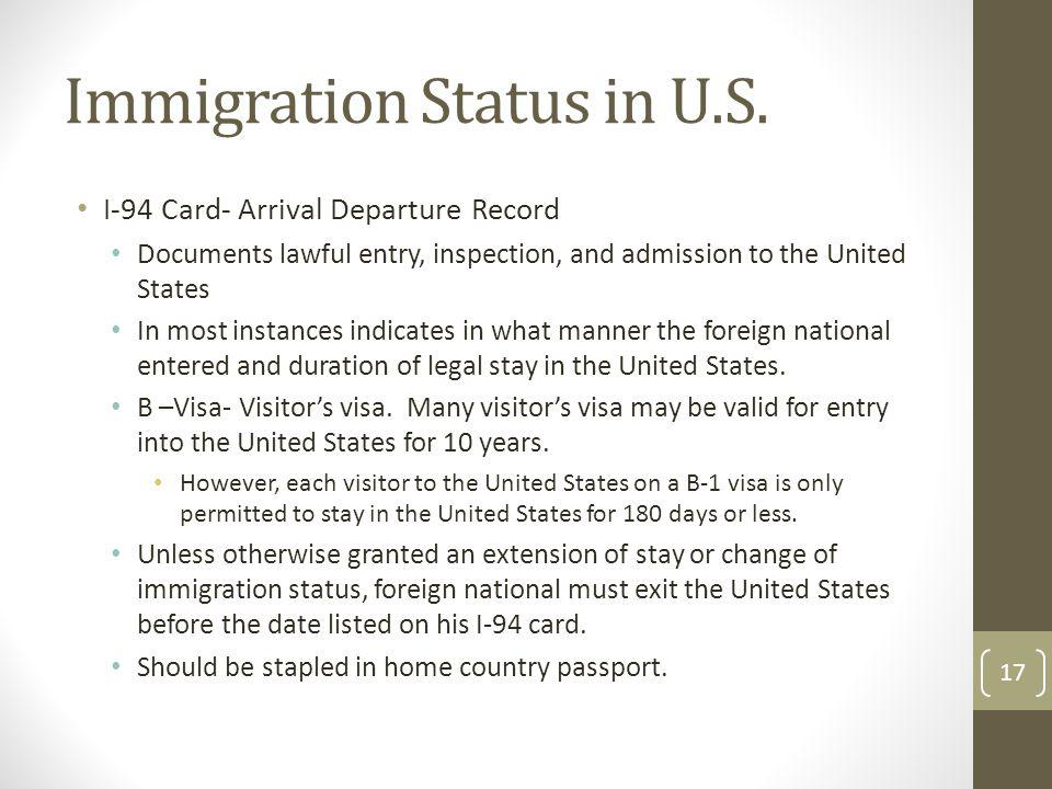 Immigration Status in U.S.