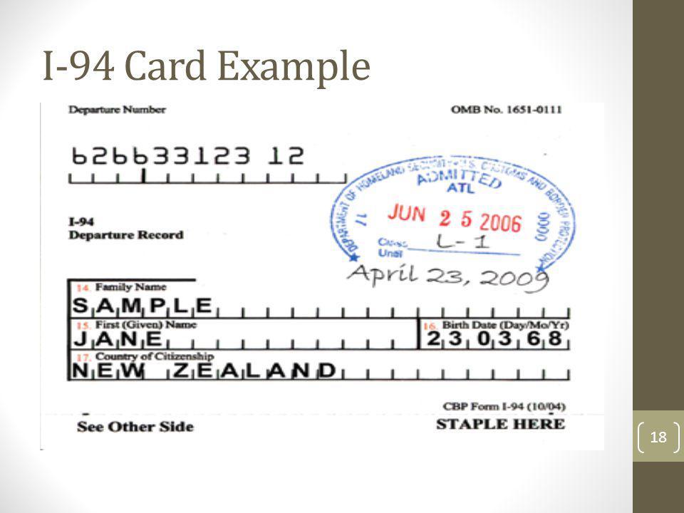 I-94 Card Example