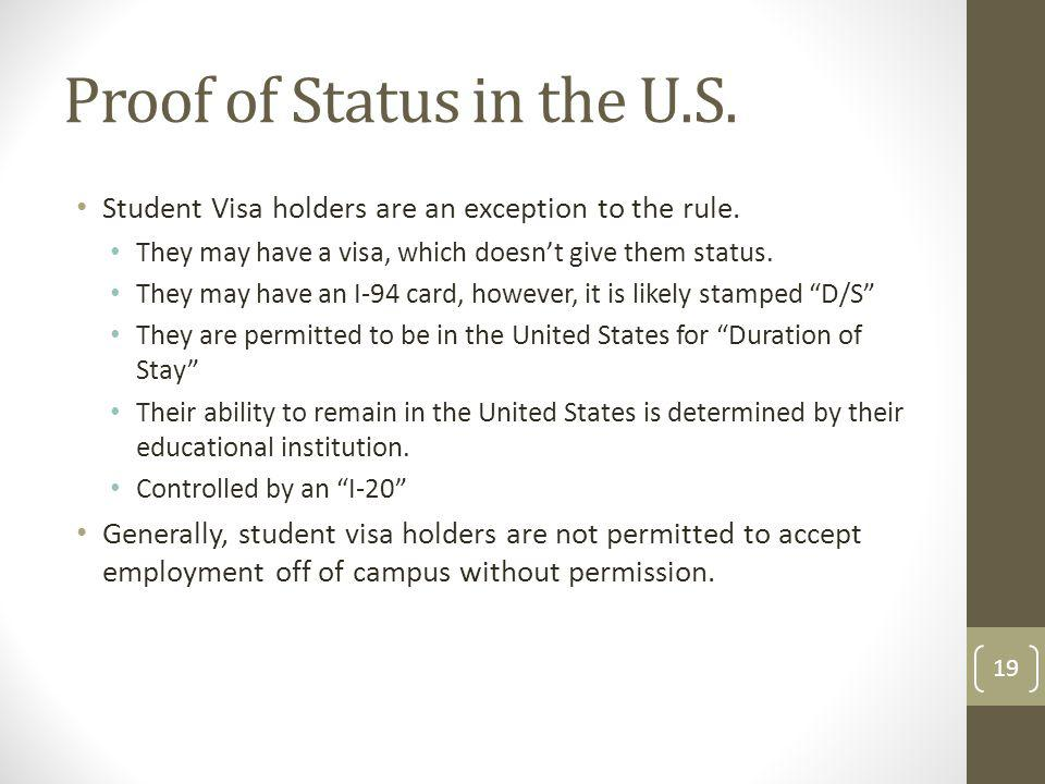 Proof of Status in the U.S.