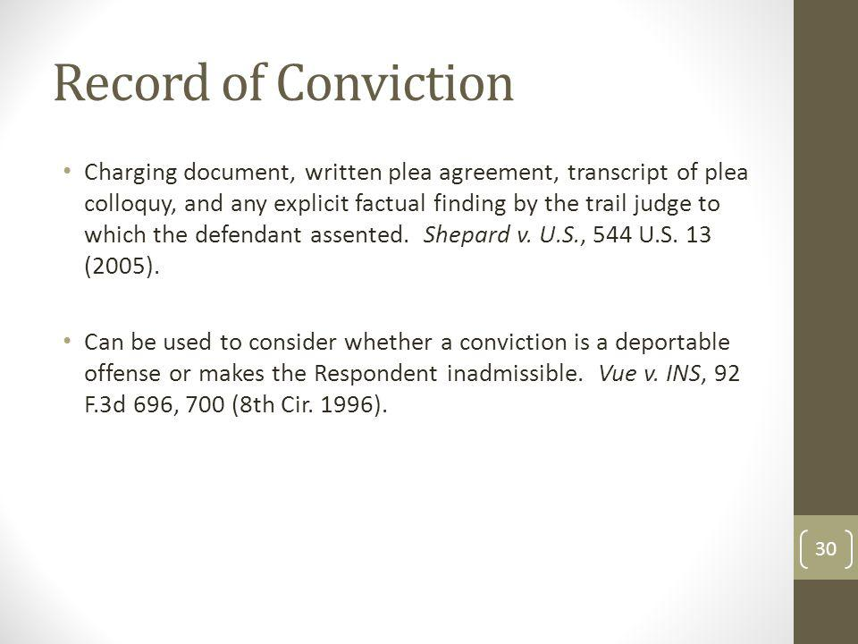 Record of Conviction