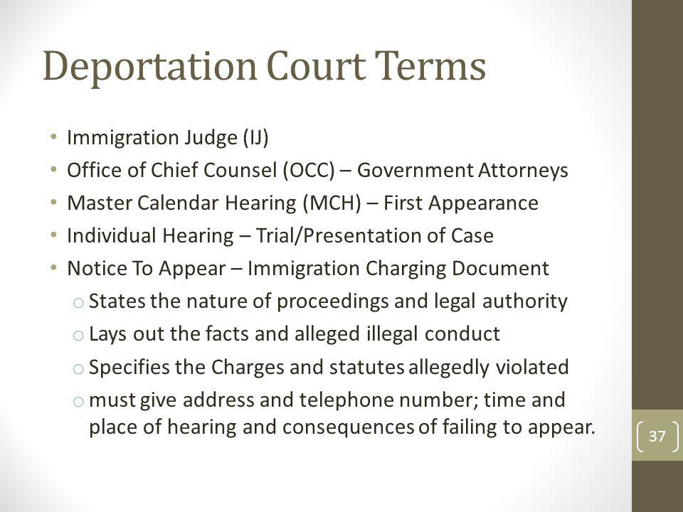 Deportation Court Terms