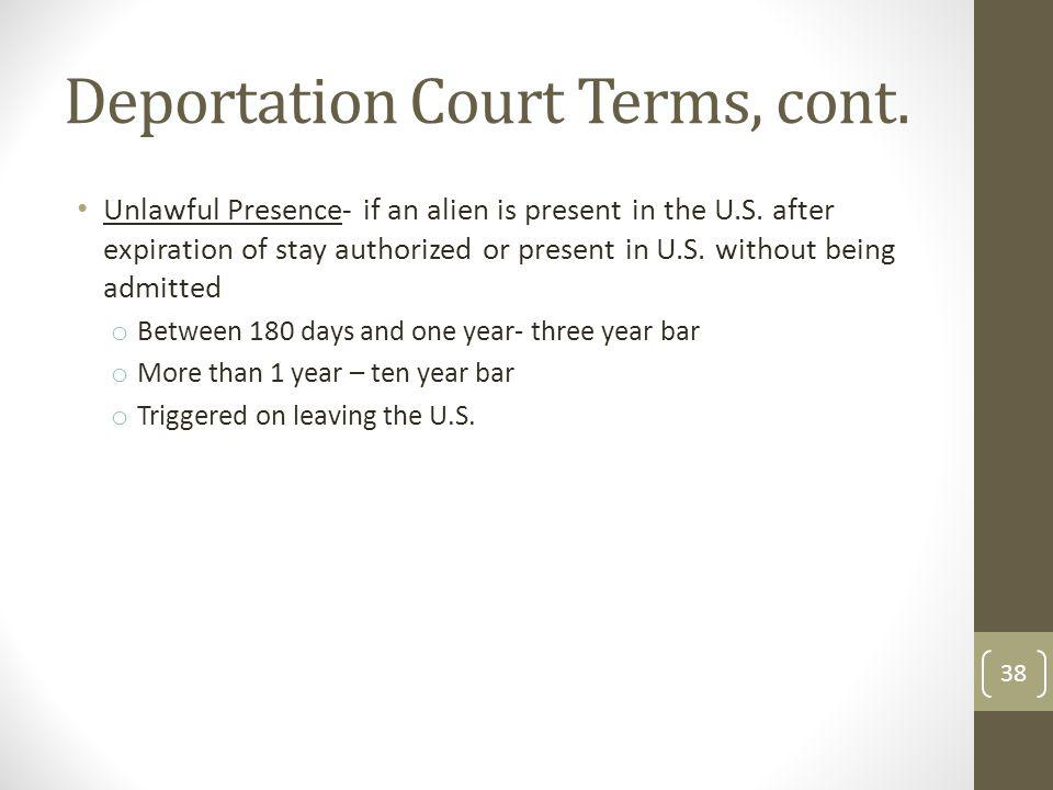 Deportation Court Terms, cont.