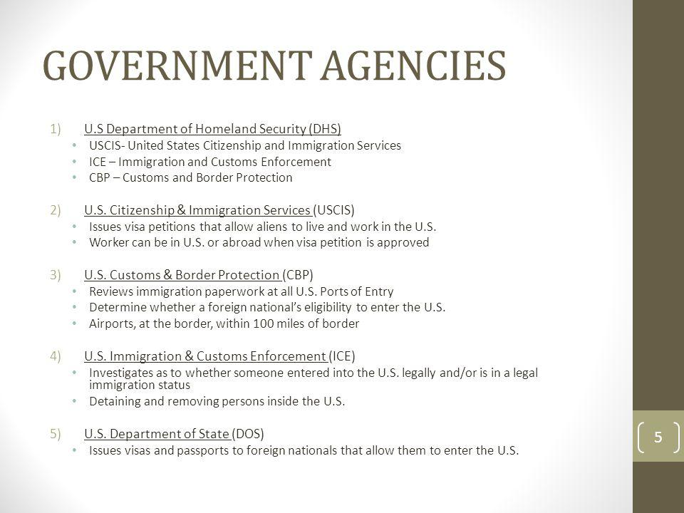 GOVERNMENT AGENCIES U.S Department of Homeland Security (DHS)