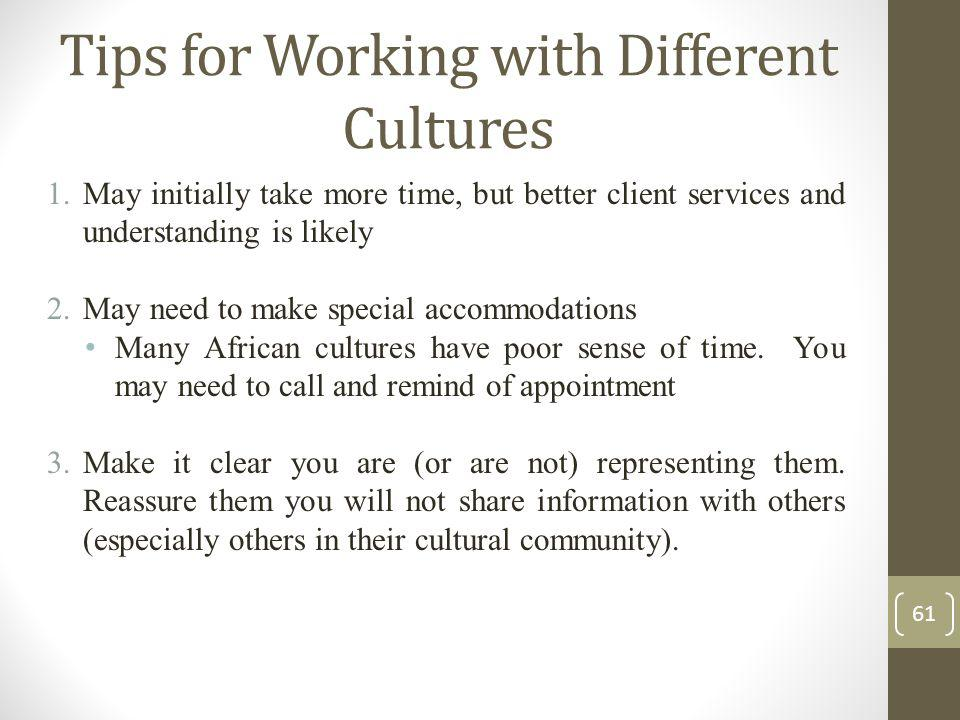 Tips for Working with Different Cultures