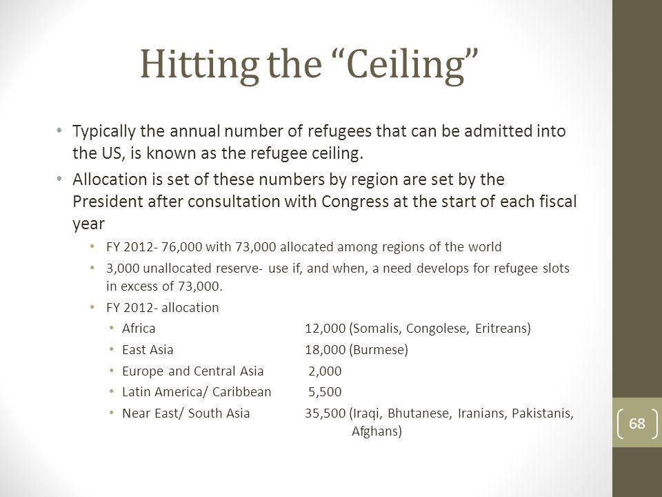Hitting the Ceiling Typically the annual number of refugees that can be admitted into the US, is known as the refugee ceiling.