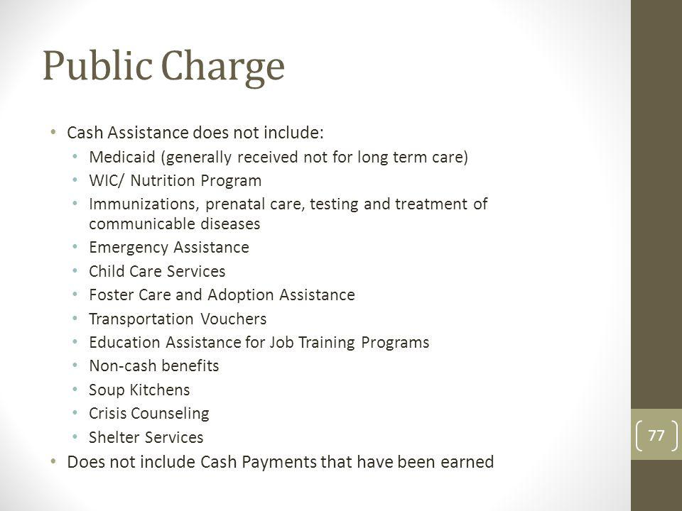 Public Charge Cash Assistance does not include:
