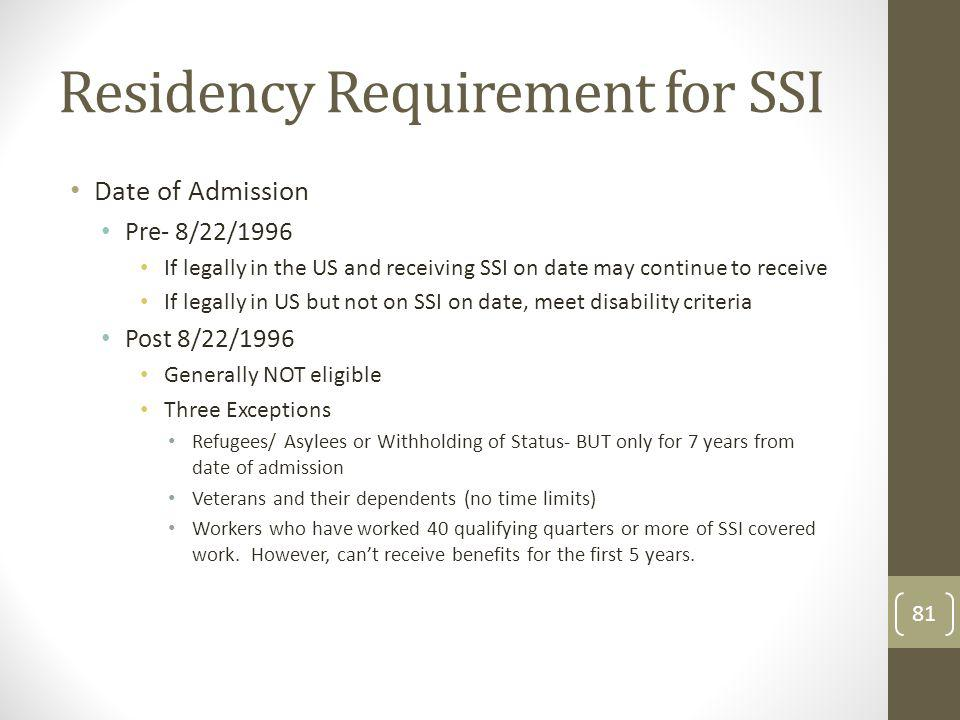 Residency Requirement for SSI