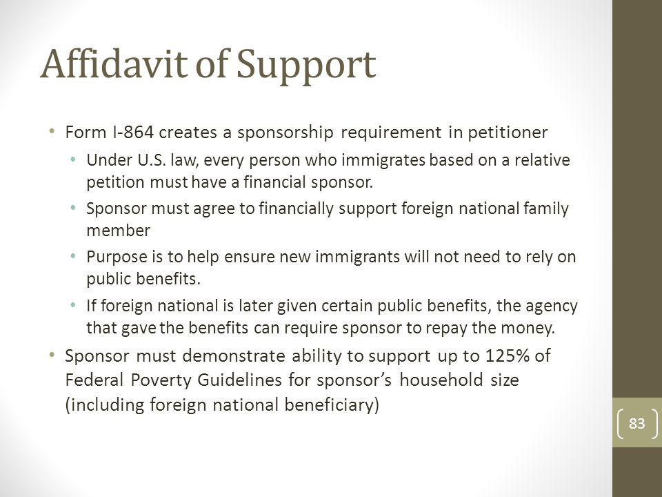 Affidavit of Support Form I-864 creates a sponsorship requirement in petitioner.