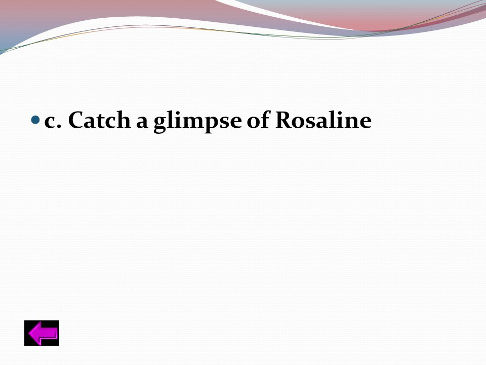 c. Catch a glimpse of Rosaline
