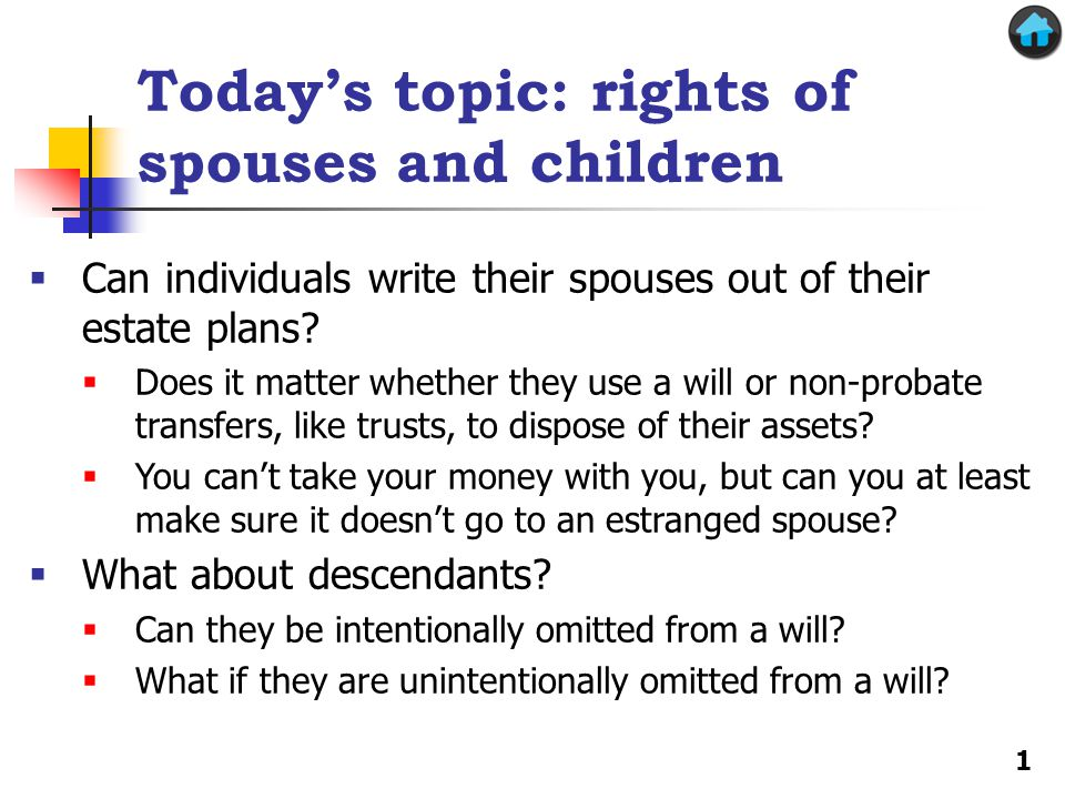 Today's topic: rights of spouses and children