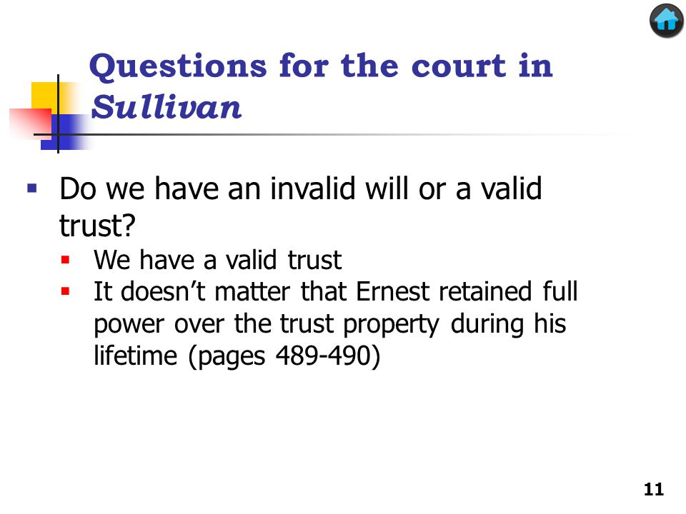 Questions for the court in Sullivan