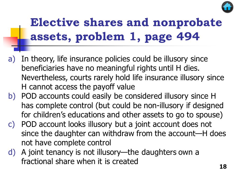 Elective shares and nonprobate assets, problem 1, page 494