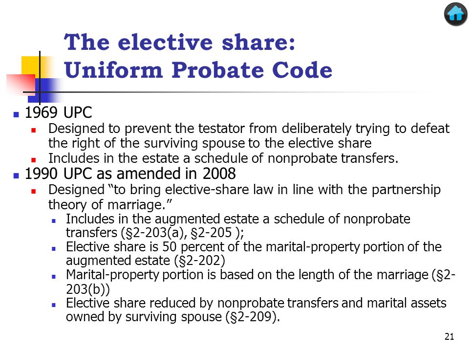 The elective share: Uniform Probate Code