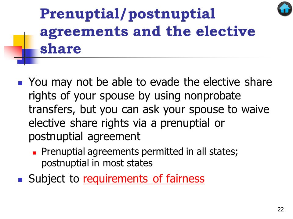 Prenuptial/postnuptial agreements and the elective share