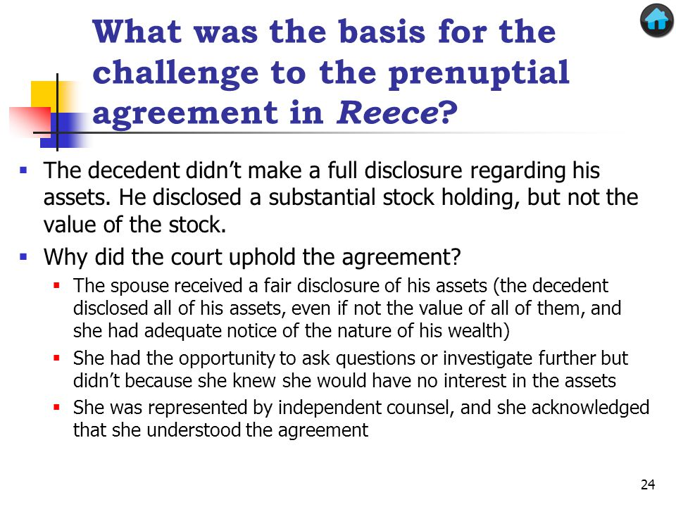 What was the basis for the challenge to the prenuptial agreement in Reece