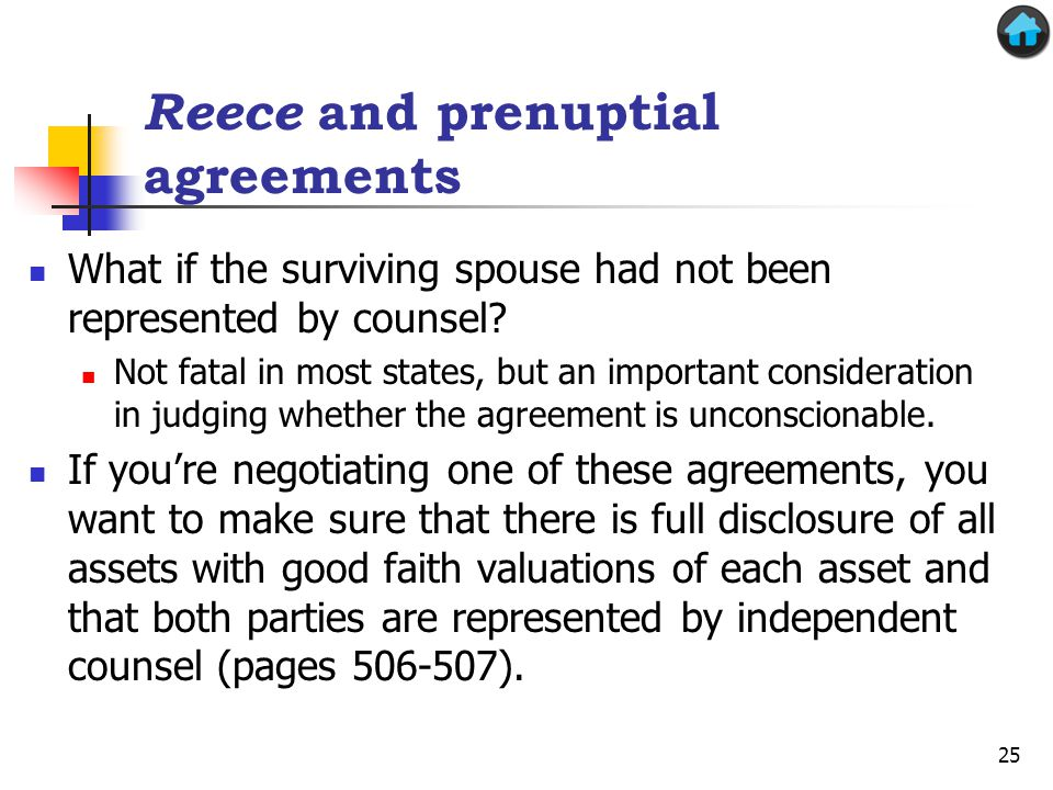 Reece and prenuptial agreements