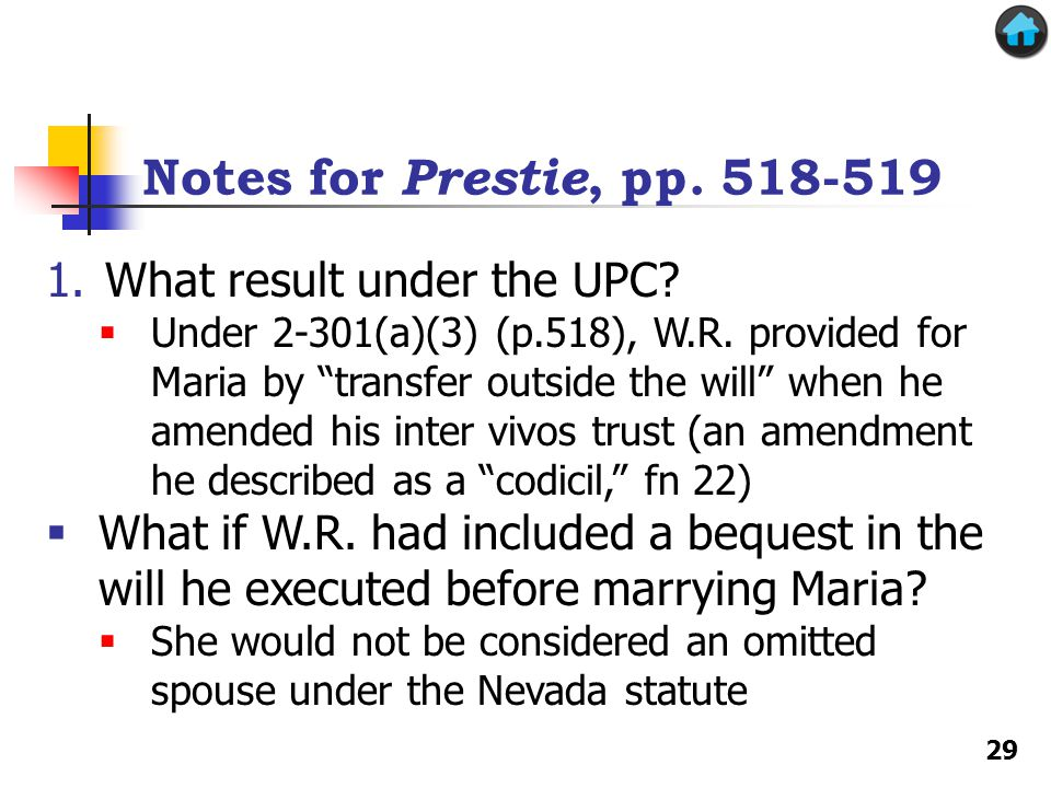 Notes for Prestie, pp. 518-519 What result under the UPC