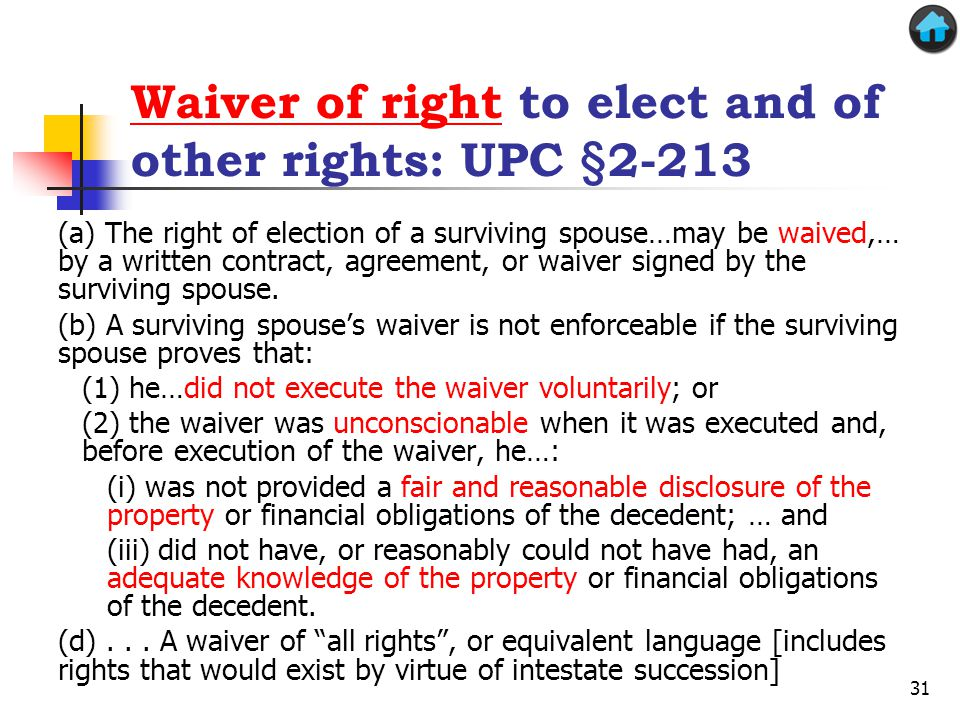 Waiver of right to elect and of other rights: UPC §2-213