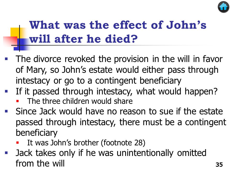 What was the effect of John's will after he died