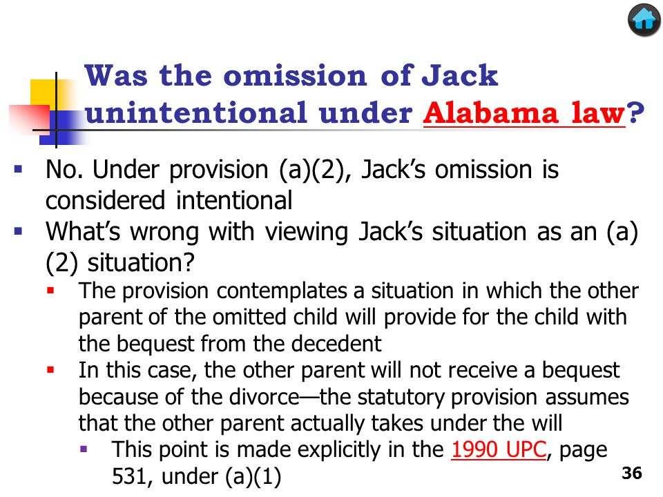 Was the omission of Jack unintentional under Alabama law