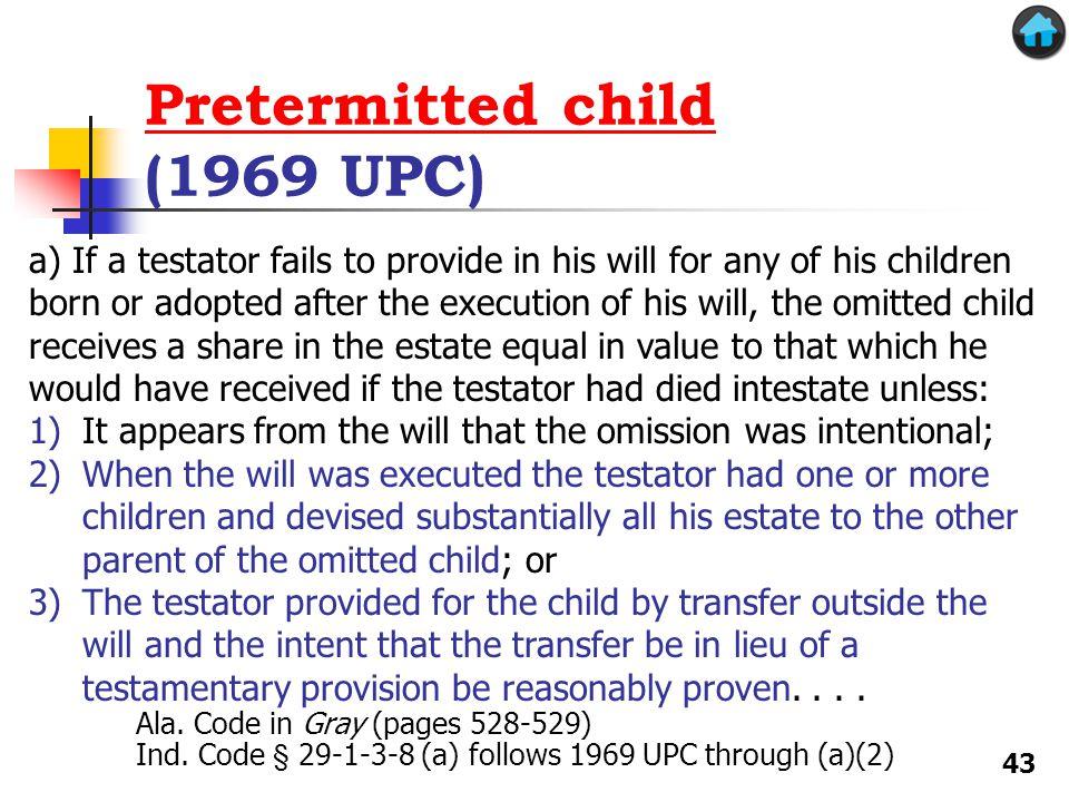 Pretermitted child (1969 UPC)