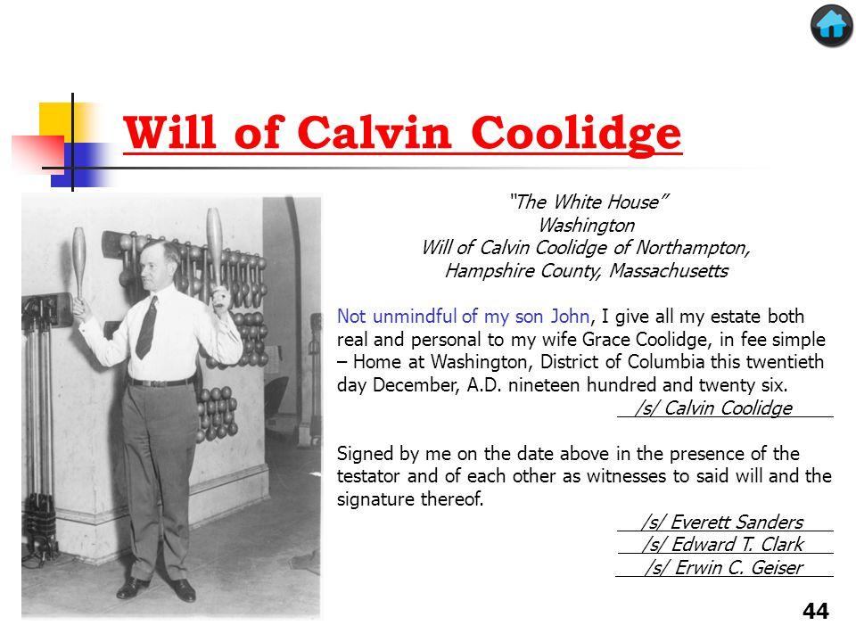 Will of Calvin Coolidge