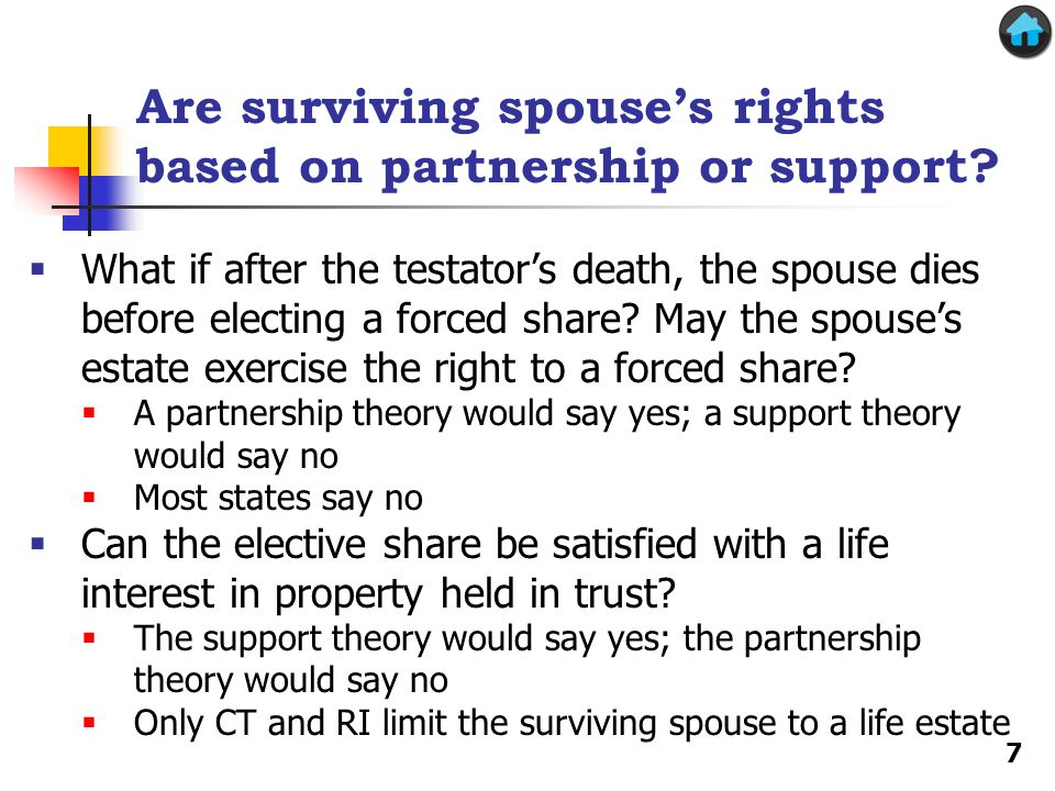 Are surviving spouse's rights based on partnership or support