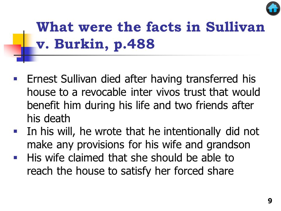 What were the facts in Sullivan v. Burkin, p.488