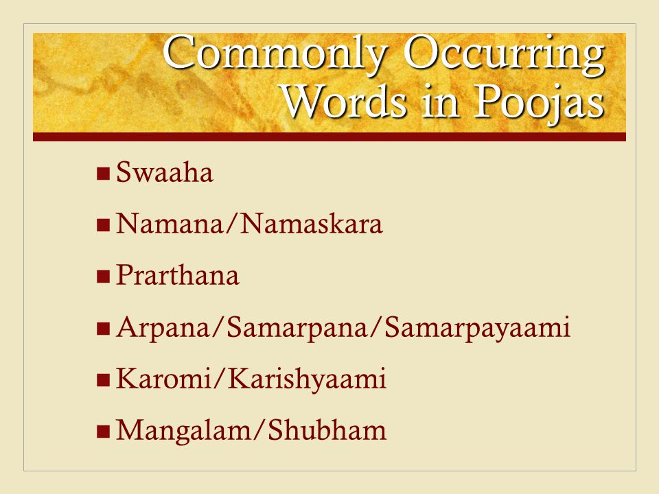 Commonly Occurring Words in Poojas