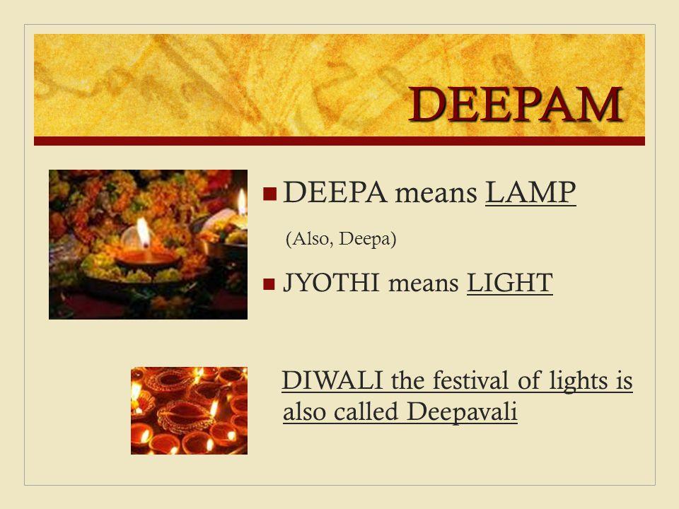 DEEPAM DEEPA means LAMP JYOTHI means LIGHT