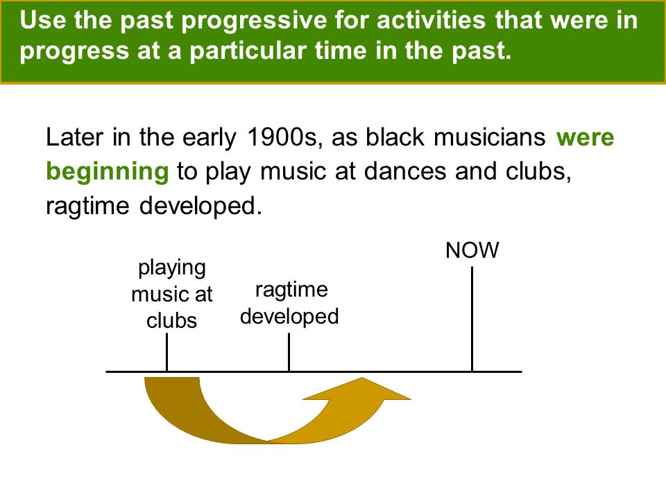 Use the past progressive for activities that were in progress at a particular time in the past.