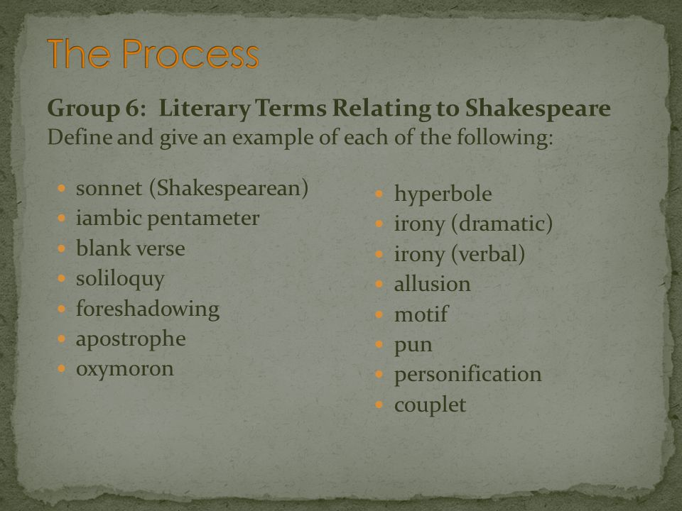 The Process Group 6: Literary Terms Relating to Shakespeare