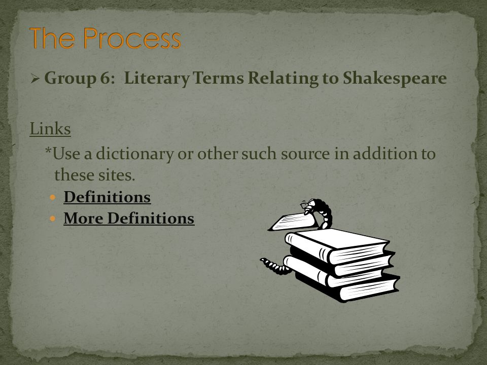 The Process Group 6: Literary Terms Relating to Shakespeare Links