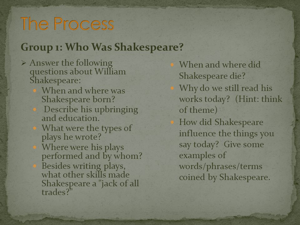 The Process Group 1: Who Was Shakespeare