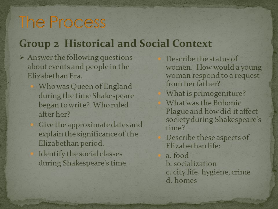 The Process Group 2 Historical and Social Context