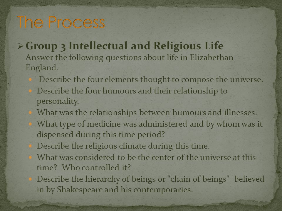 The Process Group 3 Intellectual and Religious Life Answer the following questions about life in Elizabethan England.