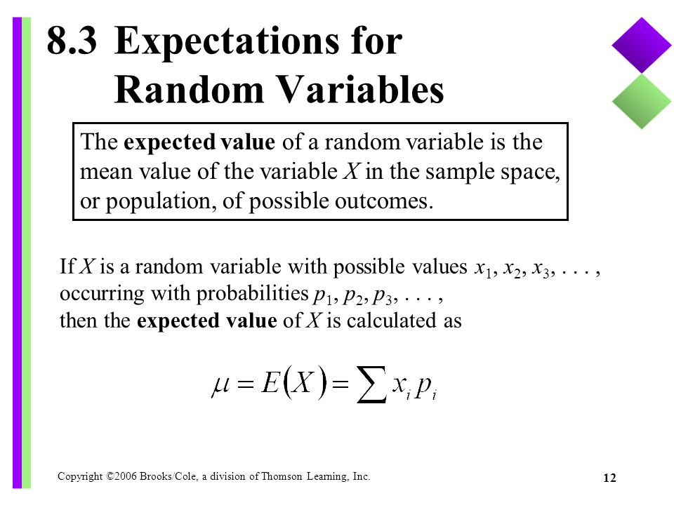 8.3 Expectations for Random Variables