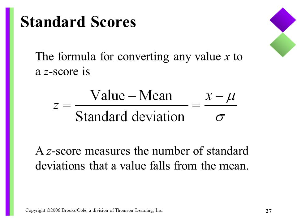 Standard Scores The formula for converting any value x to a z-score is