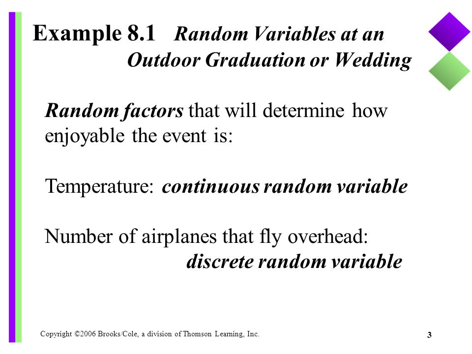 Example 8.1 Random Variables at an Outdoor Graduation or Wedding