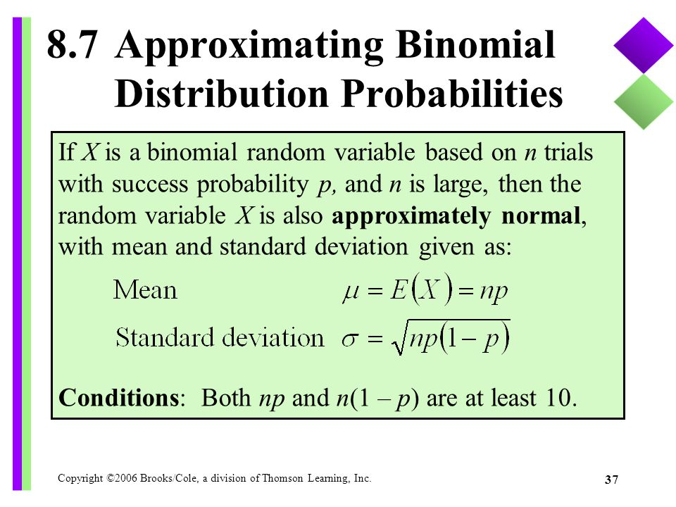 8.7 Approximating Binomial Distribution Probabilities