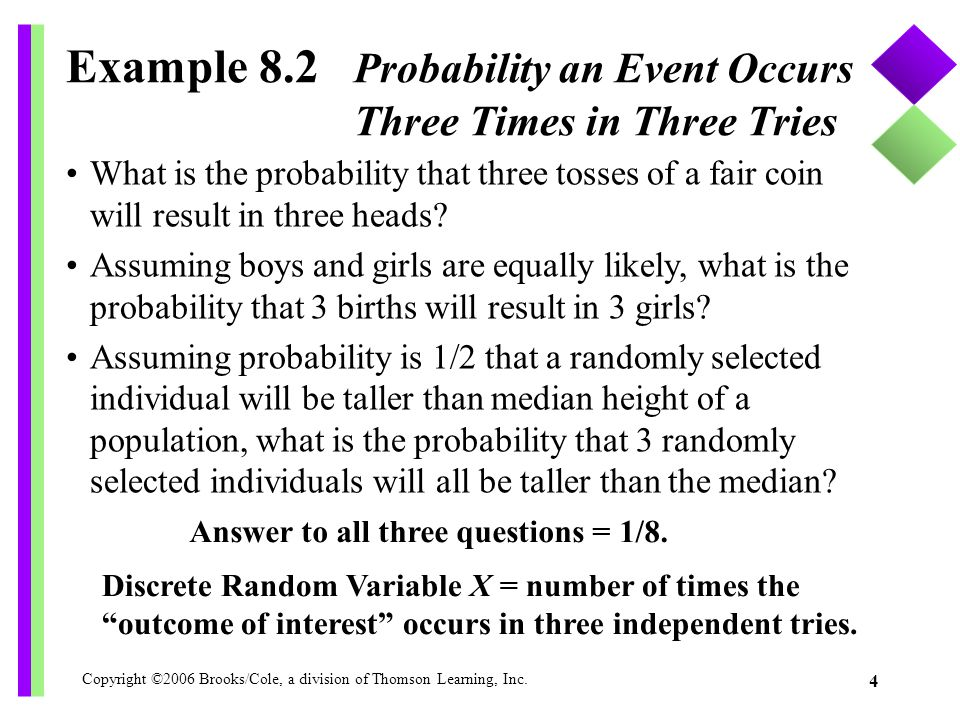 Example 8.2 Probability an Event Occurs Three Times in Three Tries