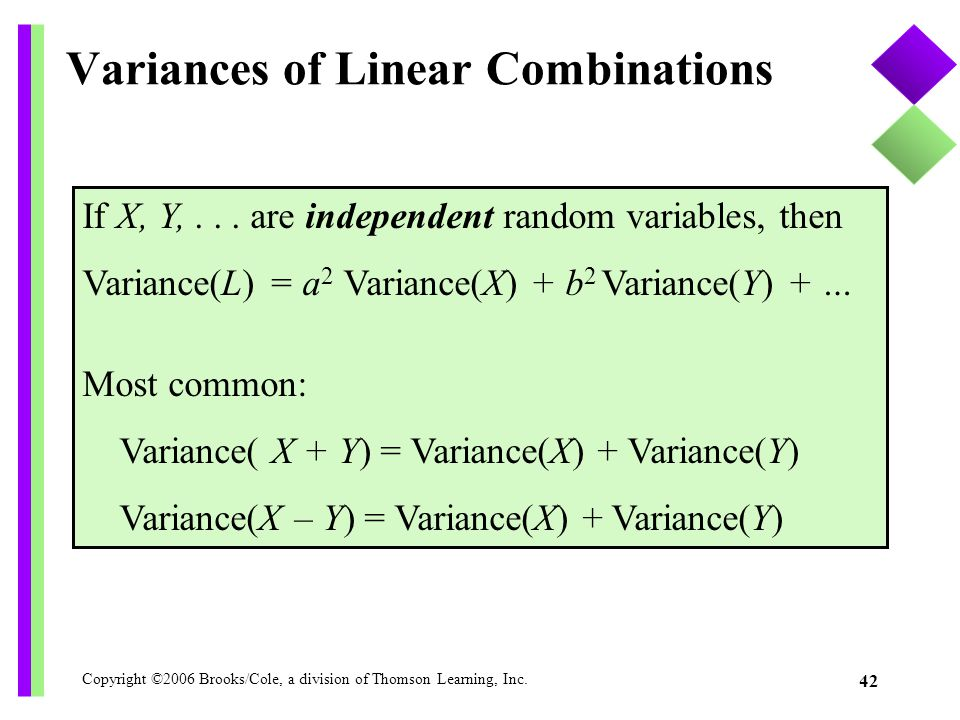 Variances of Linear Combinations