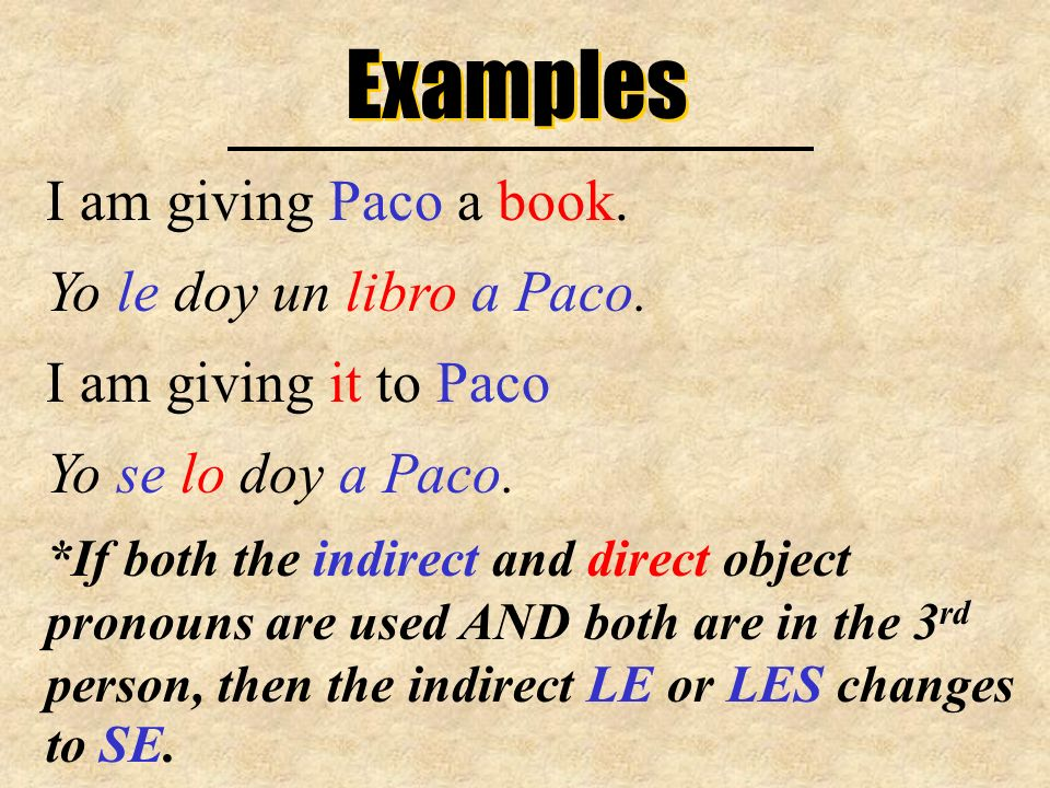 Examples I am giving Paco a book. Yo le doy un libro a Paco.