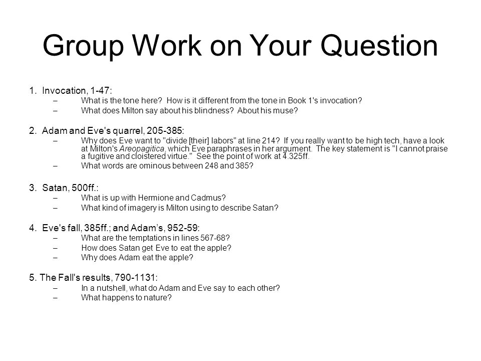 Group Work on Your Question