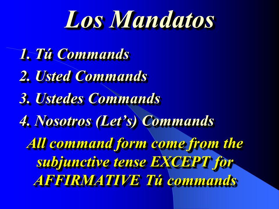 Los Mandatos 1. Tú Commands 2. Usted Commands 3. Ustedes Commands