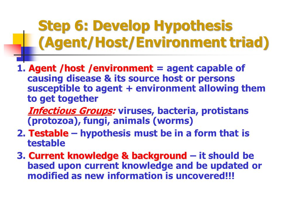 Step 6: Develop Hypothesis (Agent/Host/Environment triad)