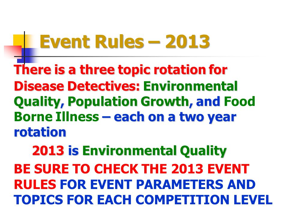 Event Rules – 2013