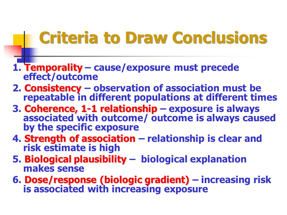 Criteria to Draw Conclusions
